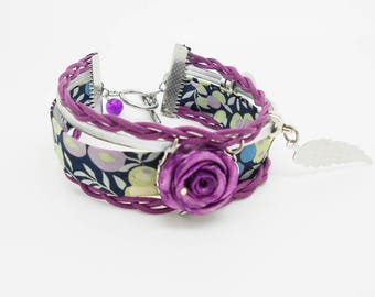 Bracelet liberty multiple pink porcelain cold dark purple