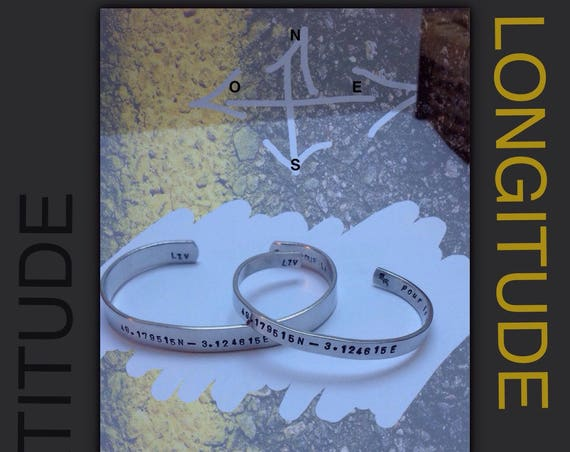 Aluminium couple bracelets with your GPS coordinates, Valentine's Day