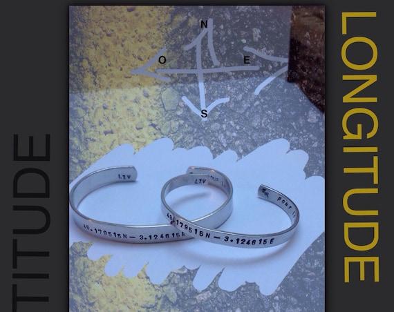 Aluminum couple bracelets with your GPS coordinates, Valentine's Day