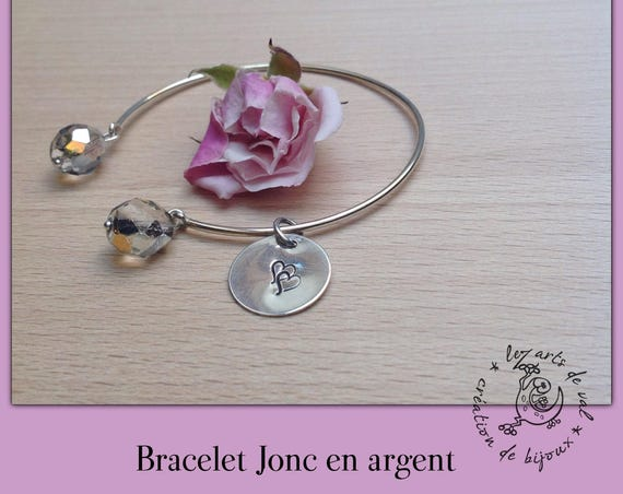 Bangle Silver Medal with double heart, Valentine's day