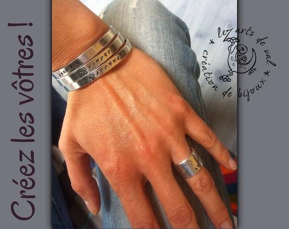Bracelet personalized aluminum, personalized bracelet, your own text, original gift, stamped, bracelet, stacking bracelet