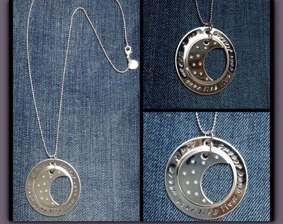 """Stamped circle and moon pendant necklace """"don't dream your Life live your dreams"""""""