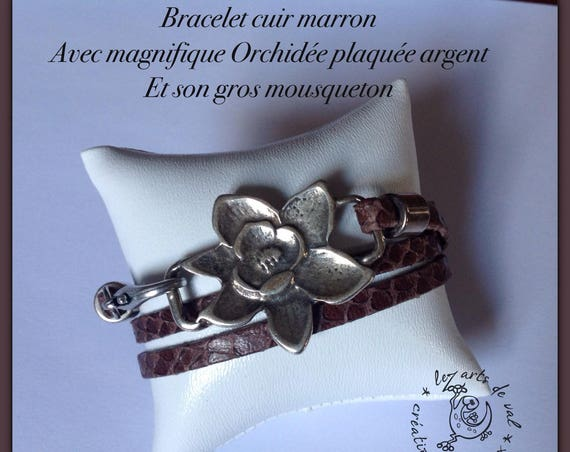 Brown leather with silver plated orchid flower bracelet