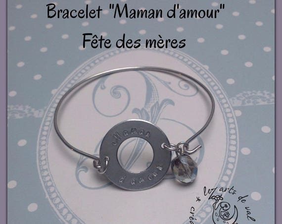"""Bangle, """"Love MOM"""" mother's day, MOM gift"""