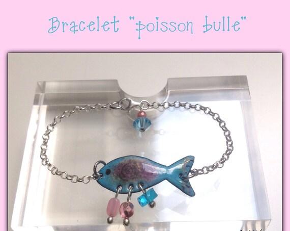 """Bracelet poisson """"Bulle"""" en cuivre émaillé et argent"""