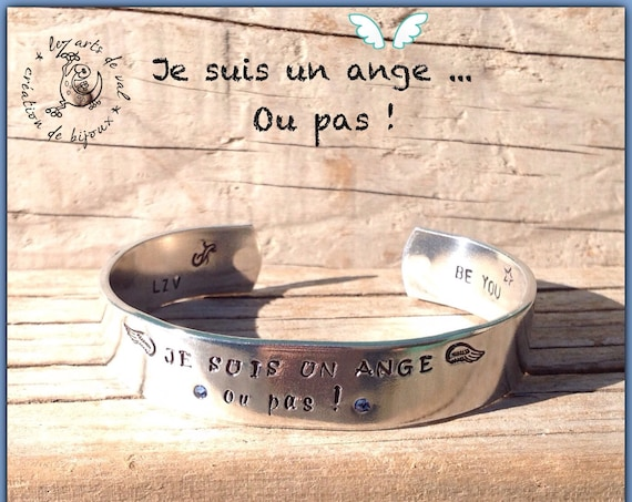"Bracelet jonc "" je suis un ange ...ou pas ! ""Collection BE YOU"