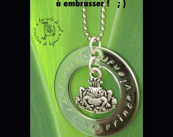 Woman necklace, personalized gift, personalized, necklace, layering against fairy prince frog, original gift.