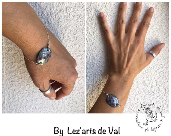 Silver jewelry woman, woman, lucky bracelet, enameled copper bracelet, gift, shell, turtle, mother earth, animal totem