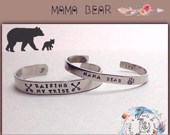 "Bracelets jonc ""mama bear"" raising my tribe"""