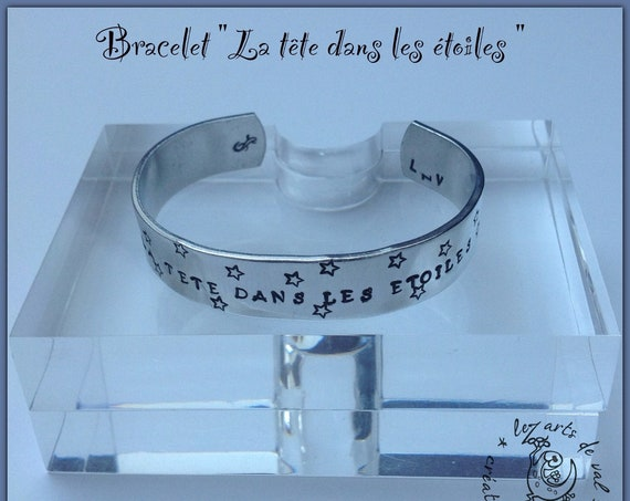 Bangle Bracelet, personalized Bracelet, stars, cuff bracelet, stamped jewelry, bracelet, custom, wide bracelet