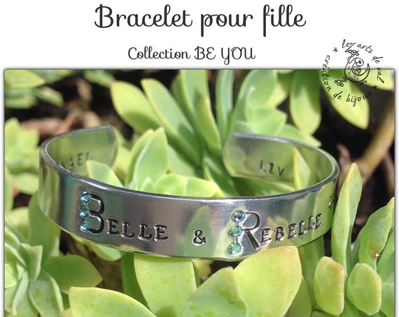 "Bracelet jonc fille "" Belle & Rebelle ""  Collection BE YOU"