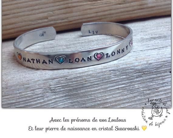 Bracelet jonc personnalisable avec prénoms et pierre de naissance