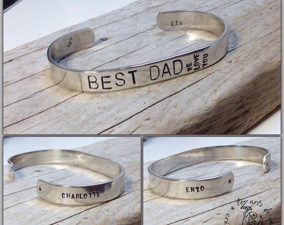 """Bracelet jonc """"BEST DAD"""" personnalisable pour Homme"""
