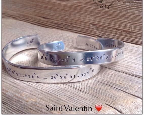 Bracelets coordonnées GPS Couple