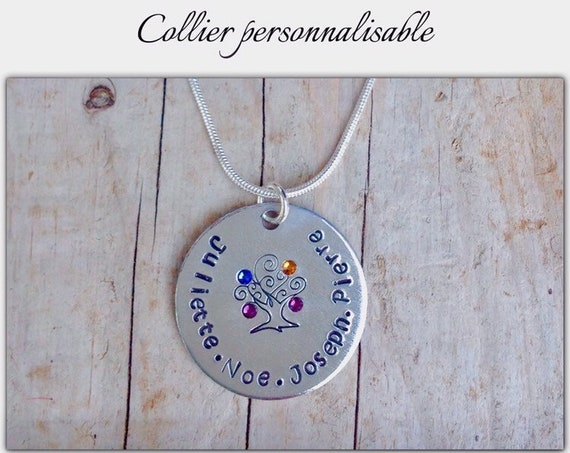 """Collier """"arbre de vie"""" avec prénoms et pierres de naissance"""