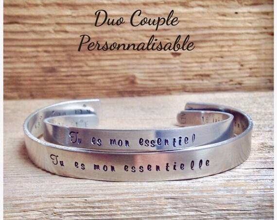 Bracelets personnalisables couple