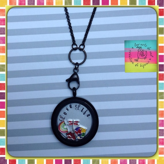 Black necklace with glass pendant, love life plate and charms inside