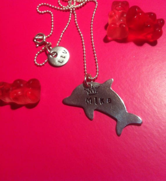 Custom dolphin necklace and small Swarovski crystal