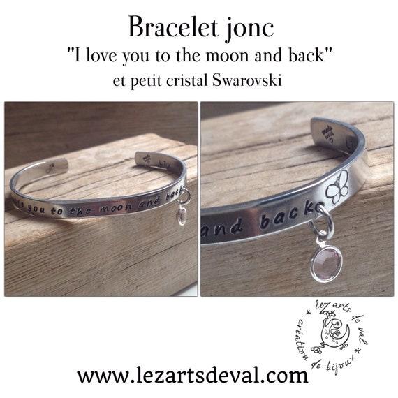 "Bracelet "" i love  you to the moon and back "" avec son petit cristal swarovski"