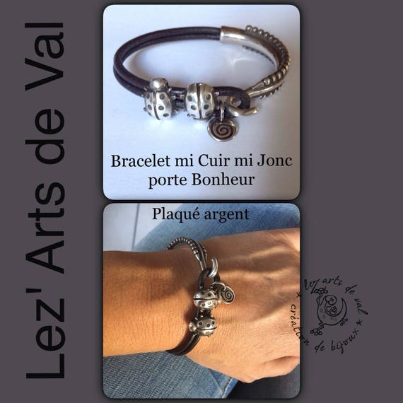 Bracelet half leather half Bangle with ladybirds in high quality silver plated metal