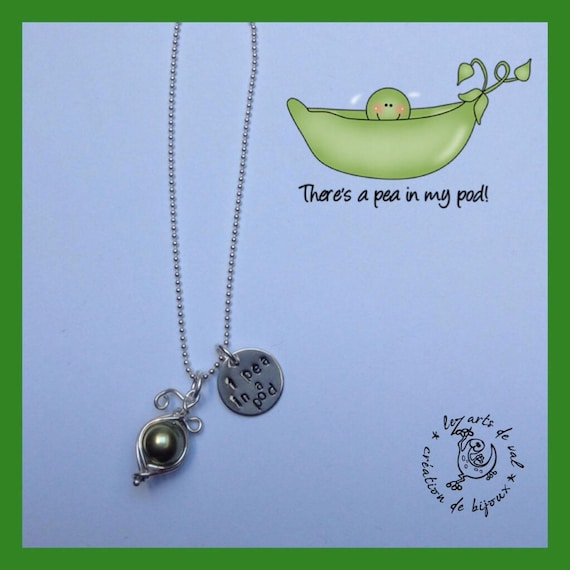 A pea in a pod necklace pea Pearl Swarovski crystals and silver