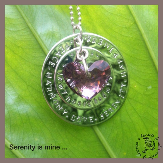 """Serenity"" necklace with stainless steel stamped disc and Swarovski Crystal heart"
