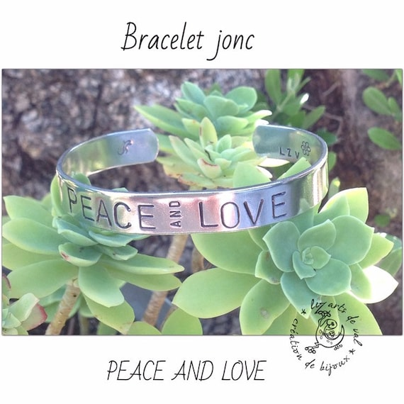 """PEACE AND LOVE"" aluminum bracelet"