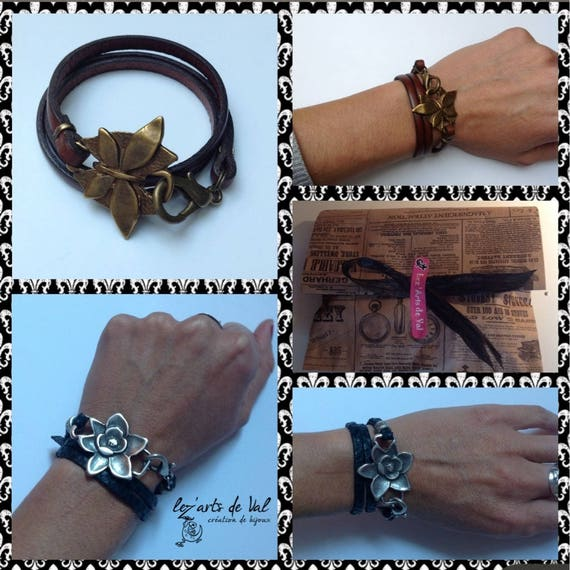 Black leather with silver plated orchid flower bracelet