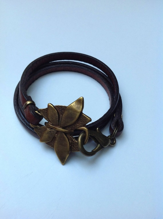 Brown leather with butterfly and large lobster clasp bracelet