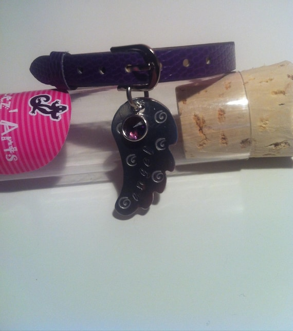 Purple imitation leather with angel wing and Swarovski bracelet