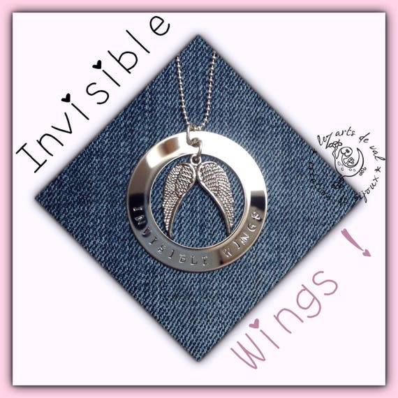 """Angel wings and Circle Pendant Necklace with inscription """"invisible wings"""" stainless steel"""