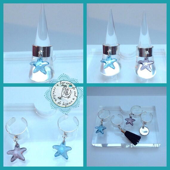 Ring pendant with purple Swarovski Crystal starfish