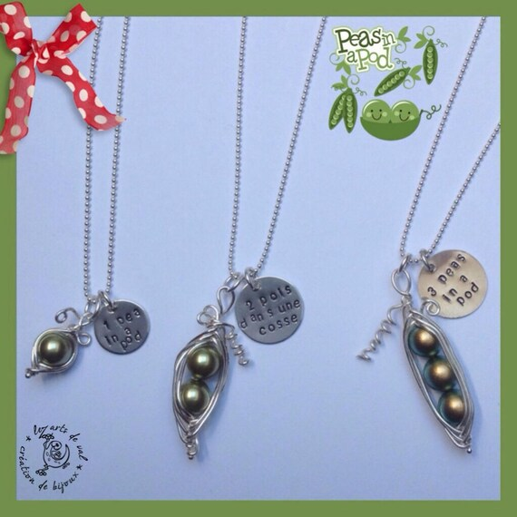 Peas in a necklace pod with Swarovski pearl peas and silver