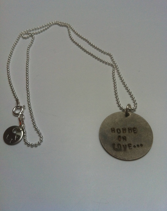 "Mens necklace ""man in love"" Valentine's day"