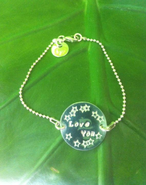 "Silver bracelet ""Love you"""