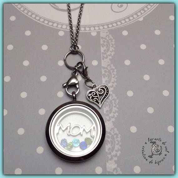 Collar with magnetized closure glass pendant, MOM circle and small rhinestones