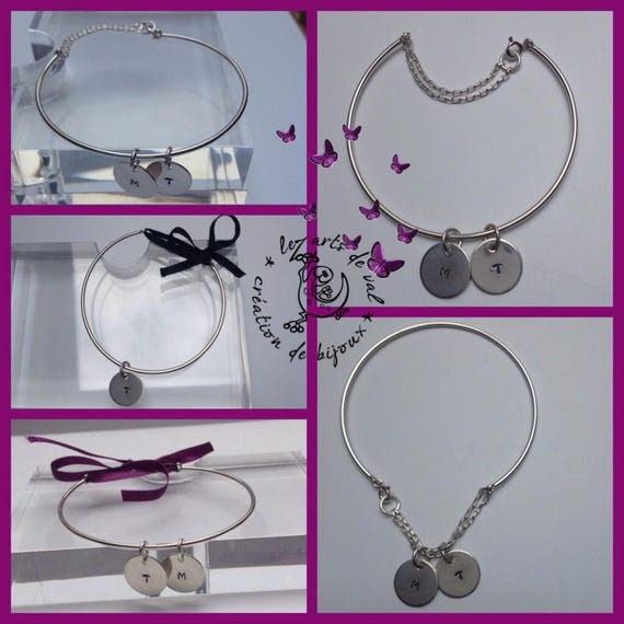 """Silver Bangle Bracelet """"modular"""" possibility different closures and medals with initial"""