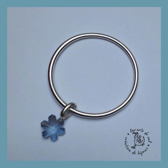 Bangle Bracelet with blue gray snowflake Swarovski Crystal