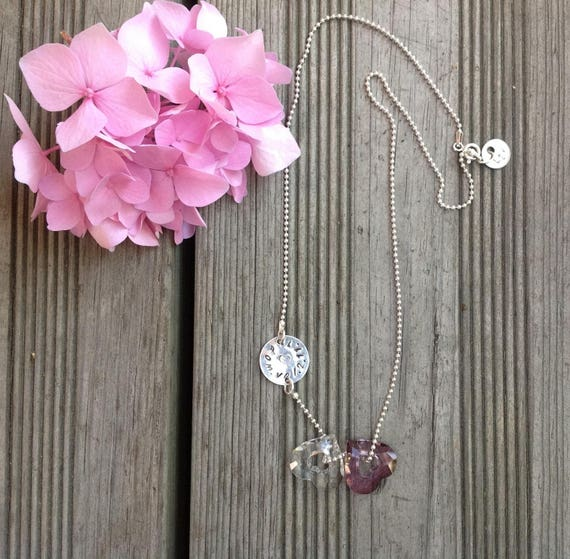 "Personalized silver necklace, two hearts Swarovski ""toi et moi"""
