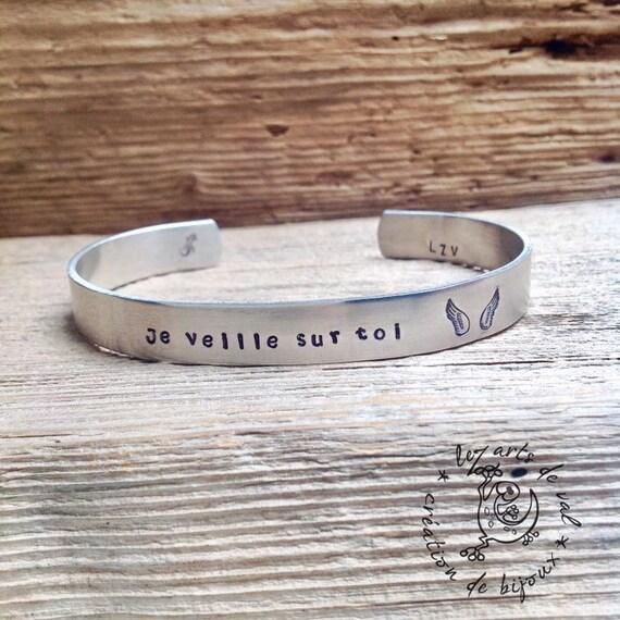 """Bracelet homme """"je veille sur toi"""""""