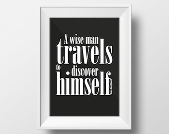 Travel Quote Print, Travels to discover himself, Travel Inspirational Poster, Printable Travel Quote, Typography Art Print, Travel Decor