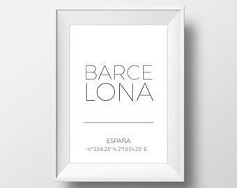 Barcelona City Coordinates Sign, Latitude Longitude Print, Barcelona City Wall Art, Gps Coordinates, Minimalist Poster, Travel Gift Idea