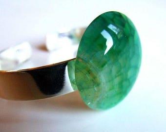 Medium green agate bracelet adjustable silver plated brass