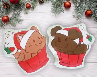 Cute Pet Pillow, Gingerbread Cat and Dog Shaped Pillows || Kawaii Plush, Dog Lover Gift, Cat Lover Gift, Christmas Gift, Pillow Plush, Decor