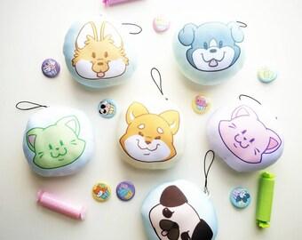 Pillow Charm || Squishy Dog and Cat Plush Keychain, Corgi, Pug, Kawaii Squishies, Dog Lover Gift, Cat Lover Gift, Free Shipping