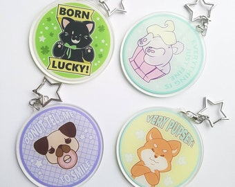 Cute Funny Acrylic Keychains || Pet Keychain, Cute Cat and Dog Keychain, Dog  and Cat Charm, Dog Lover Gift, Cat Lover Gift, Black Cat