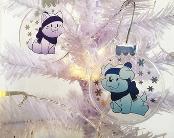 Funny Dog and Cat Ornament || Cute Ornament, Pet Ornament, Kawaii Dog and Cat Ornament, Silver Foil, Glitter, Cat Lover Gift Dog Lover Gift