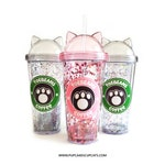 Pink and Grey Cat Ear 12oz Acrylic Tumbler Dome top & Glitter | Cat Cup, Cute Cat Cup, Kawaii Cup, Cat Lover Gift, Kawaii Cat Cup, Toebeans
