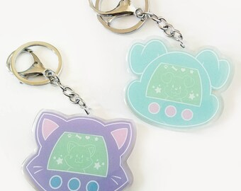 Kittagotchi and/or Puppigotchi Keychain || Tamagotchi Charm, Cute Dog and Cat Personal Pet, Tamagotchi Parody, Acrylic Keychains
