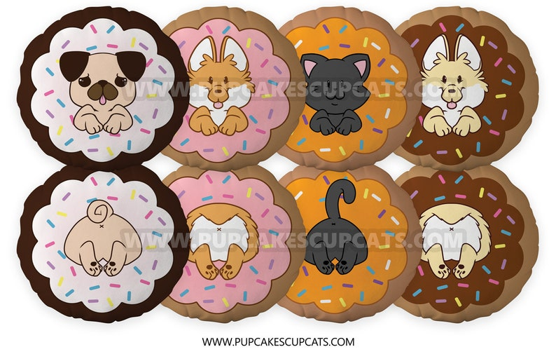 Cute Donut Corgi and Pug Pillow Cushion  Pillow Plush Cute image 0